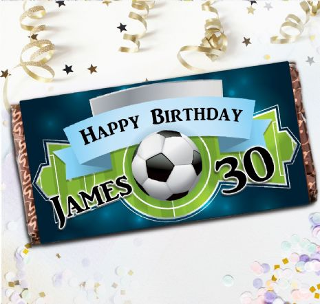 Personalised Football Soccer Happy Birthday 110g Chocolate Bar -  Gift N60
